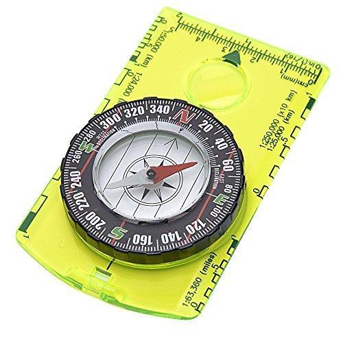 Field Boussole (Basic pour la survie, course d'orientation, Navigation, voyages à l'étranger)-Tête magnétique, remplis de roulement, Azimut, plaque de base avec cartographie Règle