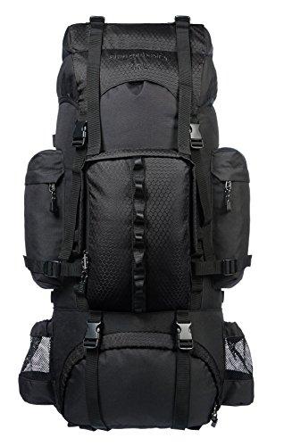 AmazonBasics Sac à dos de randonnée à armature intérieure avec housse de pluie, 65 L, Noir