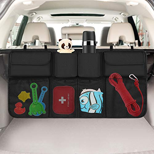 ZONE FR Organisateur de Coffre de Voiture Filet Rangement Voiture Sac de Rangement Arrière Multi-Poche pour SUV MPV Van Noir