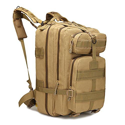 Eyourlife Sac à Dos Tactique Sac de Randonnée Backpacks Camouflage Militaire Sac d'Alpinisme Camping Voyage Sac Classique 20L - Jaune Brun