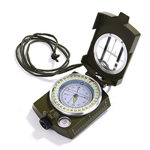 Gwhole Boussole Multifonctionnelle Professionnelle Orientation Militaire Portable en Métal pour Randonnée Camping Voyage Exploration- Vert Armée